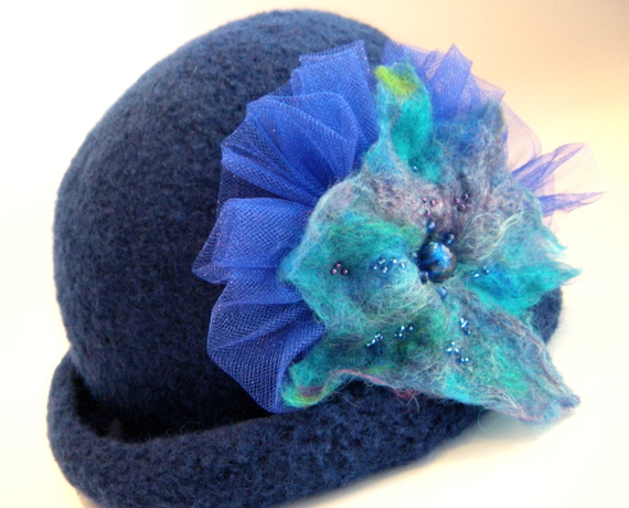 1920 Style Navy Blue Cloche with Felted Flower & Tulle