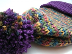 Wool Less Unisex Reversible Stocking Cap in Multi-Colors & Purple