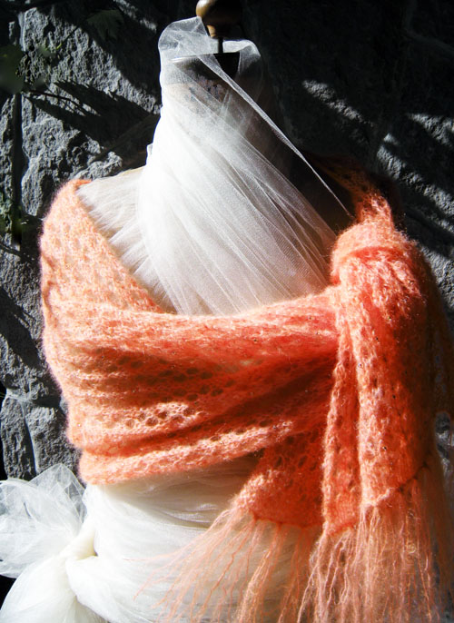 Coral Beaded Honeycomb Lace in Kid Mohair