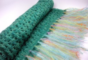 Emerald Green Honeycomb Beaded Lace Stole