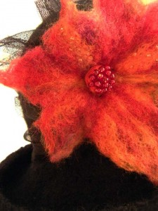 Juliet's Capulets Wide Brimmed Felt Hat with Beaded Felted Flower & Tulle Band