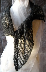 Gossamer Weight Honeycomb Lace Stole in Jet Black