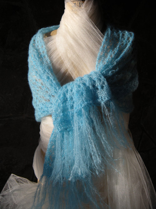 Juliet's Capulets Ocean Blue Beaded Lace Honeycomb Shawl