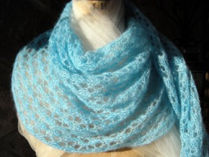 Juliet's Capulets Ocean Blue Beaded Lace Honeycomb Shawl in Kid Mohair