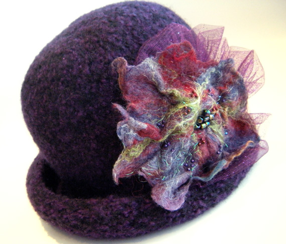 1920s Felted Cloche in Violet with Hand Beaded, Felted Flower & Sparkly Tulle