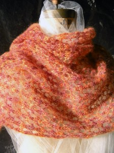 Beaded Honeycomb Lace Stole in Sunset Colors