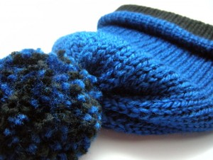 Wool Less Unisex Reversible Stocking Cap in Electric Blue & Black