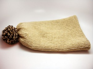 Wool Less Unisex Stocking Cap in Cream & Camel
