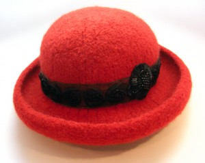 Red Wool Felt Roll Brim Hat with Black Rose Band