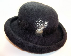 Wide Brim Black Wool Felt Hat with Feathers
