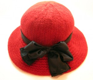 Wide Brim Red Wool  Felt  with Silk Sash & Bow