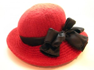 Wide Brim Felt Hat with Black Silk Bow & Sash