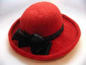 Wide Brim Red Wool Felt Hat with Sparkle Sash
